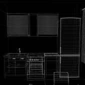 layout of the apartment. Wire-frame render on black background poster