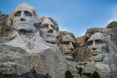 Mount Rushmore South Dakota close up of the 4 Presidents, President George Washington, Thomas Jefferson, Teddy Roosevelt and Abraham Lincoln near Rapid City South Dakota poster