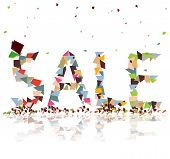 """Colorful paper bits falling and create the word """"sales"""" create by vector poster"""