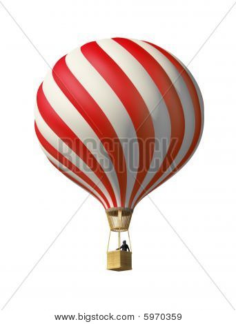 Isolated On White 3D Red Balloon