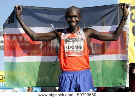 BARCELONA - FEB,2: Kenyan Wilson Kipsang, Current world record holder in the marathon after of his victory in Granollers Half Marathon at Granollers on February 2, 2014 in Barcelona, Spain