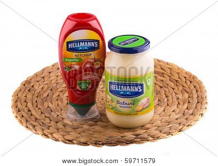 KRAKOW, POLAND - FEB 8, 2014: Studio shot of Hellmann's mayonnaise and ketchup isolated on white. Hellmann's brand name, known as CPC international before 1997, was acquired by Unilever in 2000.