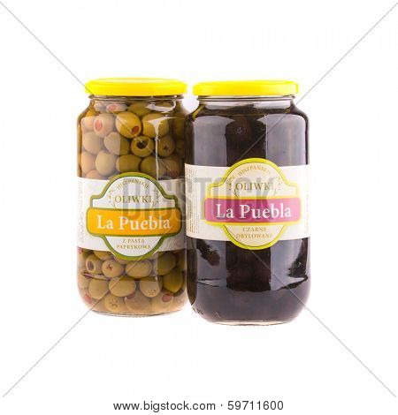 KRAKOW, POLAND - FEB 8, 2014: Studio shot of green and black olives 935 gr La Puebla. Company B&T Distribution Sp. z o.o. is the official distributor of La Puebla in Poland since 1999.