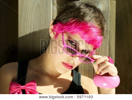 Pink Girl Wearing Sunglasses