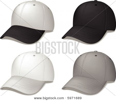 Black Baseball Caps - realistic vector illustrations