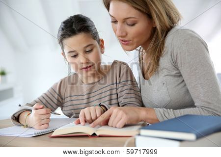 Mom helping kid with homework poster