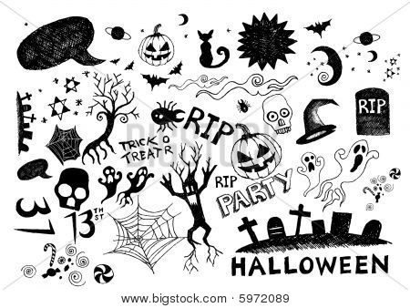 A collection of hand-drawn halloween elements! All elements are moveable individual objects. Vector. poster