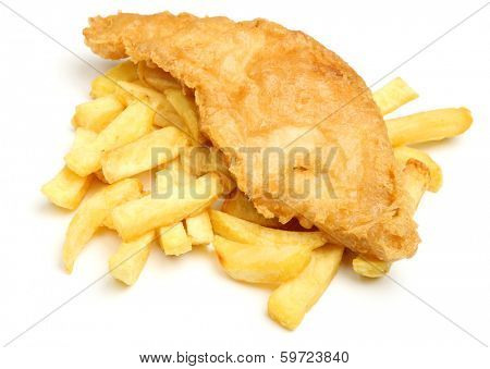 Battered cod fish and chips.