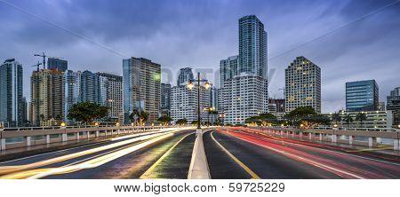 Miami, Florida skyline from Brickell Key.