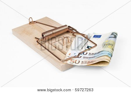 Mouse trap with Euro bills isolated over white with clipping path.