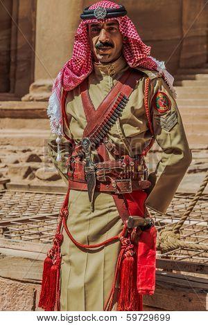 PETRA, JORDAN - MAY 11, 2013: arab legion soldier portrait in Nabatean