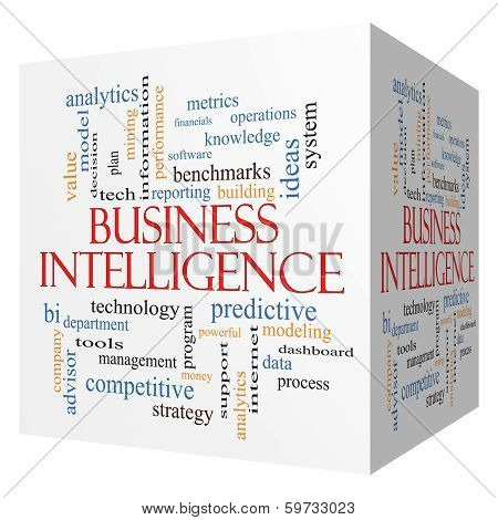 Business Intelligence 3D cube Word Cloud Concept with great terms such as predictive modeling analytics and more. poster