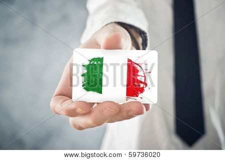 Italian Businessman Holding Business Card With Italy Flag