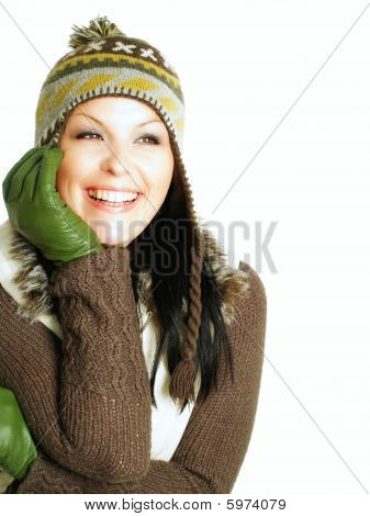 Closeup Of Smiling Woman In Winter Clothes