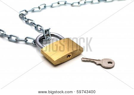 Lock Chain And Key On White Background