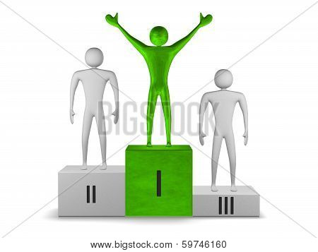 Green Winner And Gray Prizetakers On Podium. Front View