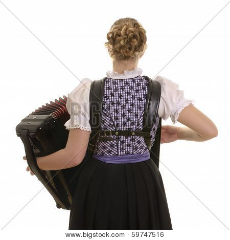 Rear View Of Young Drindl Woman Playing Accordion