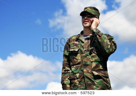 Soldier Mobile Phone, Military Man Camouflage Army Uniform calling