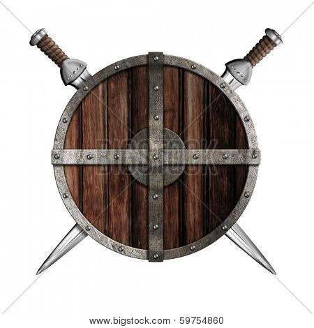 Two swords behind wooden round shield isolated