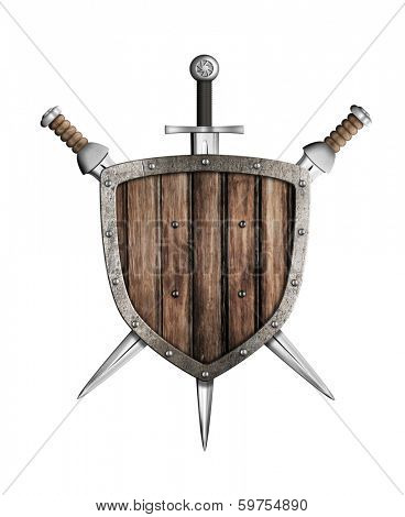 swords and wooden shield isolated poster