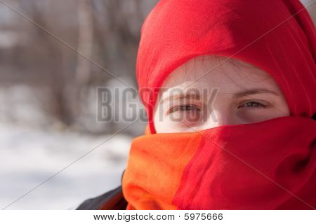 Girl In Red Purdah