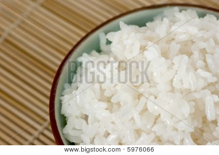 Close Up Of A Bowl Of White Rice