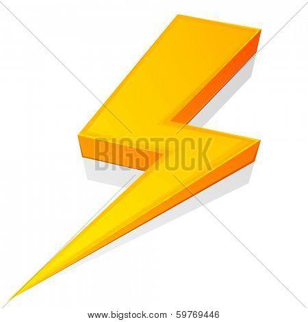 detailed illustration of a glossy lightning bolt, eps10 vector