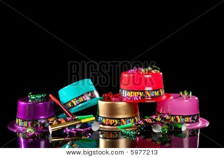 New Years' Eve Party Hats On  Black Background