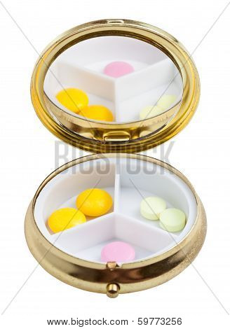 Compact Pill Box With Mirror And Several Tablets