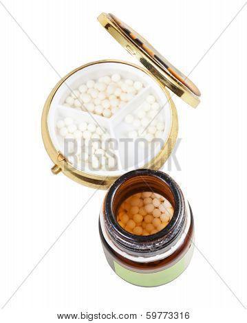 Glass Jar And Pill Box With Homeopathy Sugar Balls