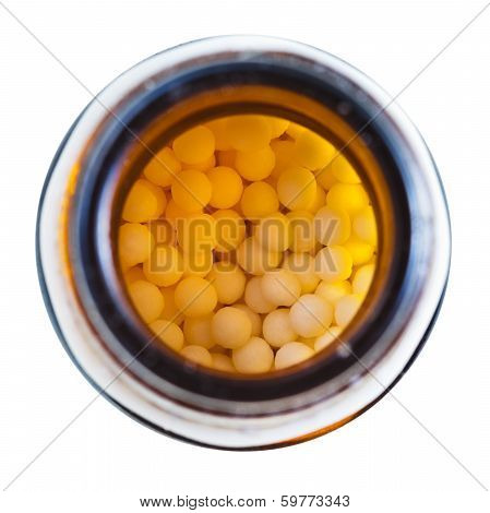 Homeopathy Sugar Balls In Glass Brown Jar