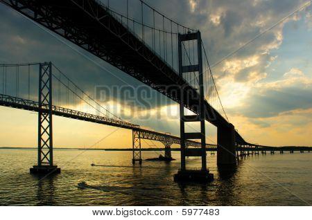 Chesapeake Bay Bridges From A Cruise Ship Deck