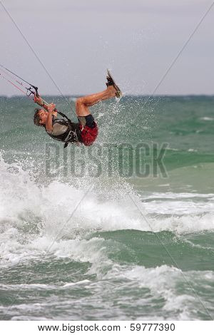Man Catches Air Parasail Surfing In Florida