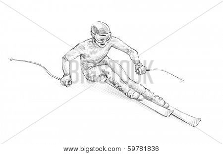 Hand-drawn Sketch, Pencil Illustration of an Alpine Skier Speeding Downhill