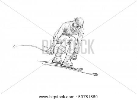 Hand-drawn Sketch, Pencil Illustration of an Alpine Skier Jumping Downhill