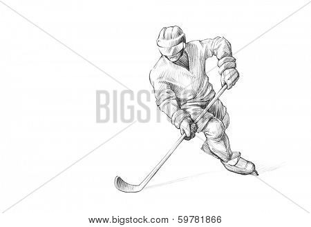 Hand-drawn Sketch, Pencil Illustration of an Ice Hockey Player
