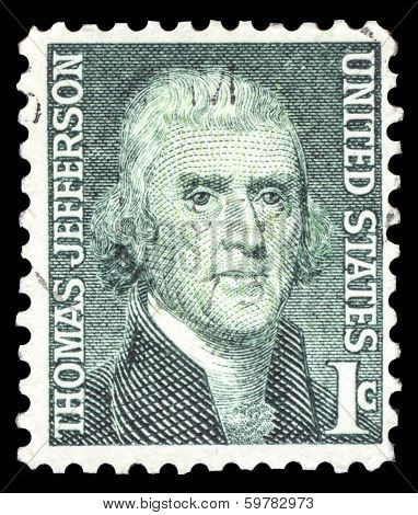 USA-CIRCA 1968: A postage stamp shows image portrait of Thomas Jefferson the 3rd President of the United States of America, circa 1968.