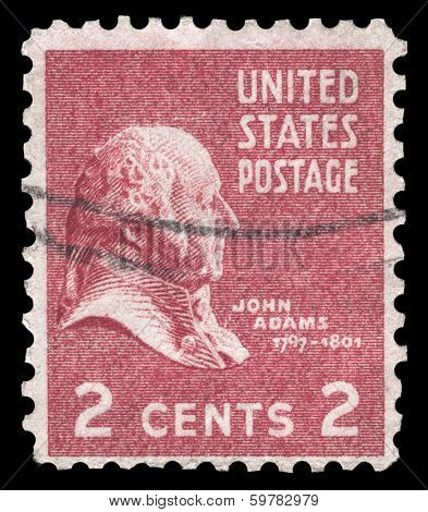 USA-CIRCA 1938: A postage stamp shows image portrait of John Adams the 2nd President of the United States of America, circa 1938.