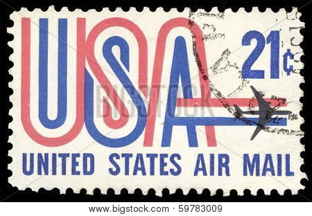 USA-CIRCA 1971: A 21 cent United States Airmail postage stamp shows image of Jet and text USA in red white and blue, circa 1971.