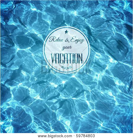 Water background with label - eps10 vector