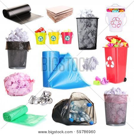 Collage of different garbage isolated on white