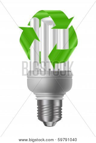 Illustration of energy saving light bulb with green recycle sign isolated poster
