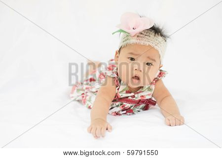 Cute Baby Confusing Girl With Rose Headband