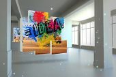Idea on abstract screen against screen in room with sparks poster