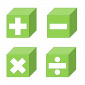 Math symbols of addition, subtraction, multiplication and division symbols into green cubes in white background poster