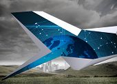 Blue earth on abstract screen against cityscape in distance under cloudy sky poster