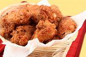 basket of crispy fried chicken poster