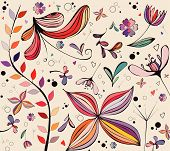vintage floral patterns hand drawn and scanned in computer poster