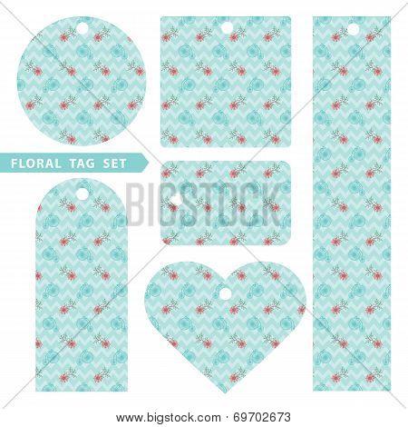 Floral tag set. Vintage vector