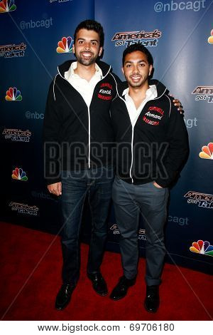 NEW YORK-AUG 6: Members of Cornell Bhangra attend the 'America's Got Talent' post show red carpet at Radio City Music Hall on August 6, 2014 in New York City.